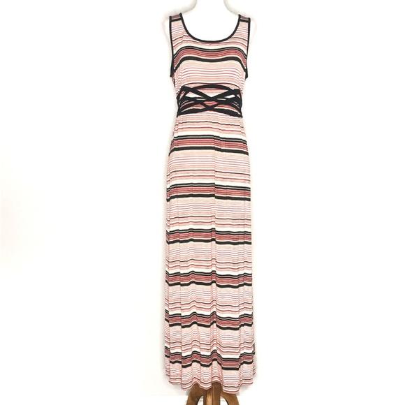 Max Studio Dresses & Skirts - Max Studio Twist Trim Striped Maxi Dress A190766
